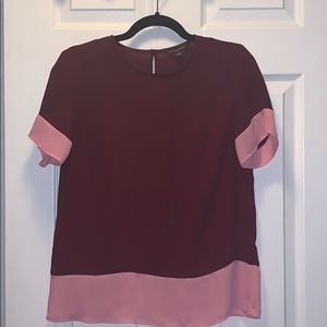 Short Sleeve Color Block Blouse